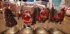 Vintage Luminarc 16 0z. Santa and Reindeers Drinking Glasses. Set Of 4.