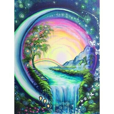 Waterfall Rainbow DIY 5D Diamond Painting Cross Stitch Embroidery Home Decor