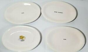 4-Rae-Dunn-Oval-Snack-Plates-Yum-Cheddar-More-Please-EUC-Magenta