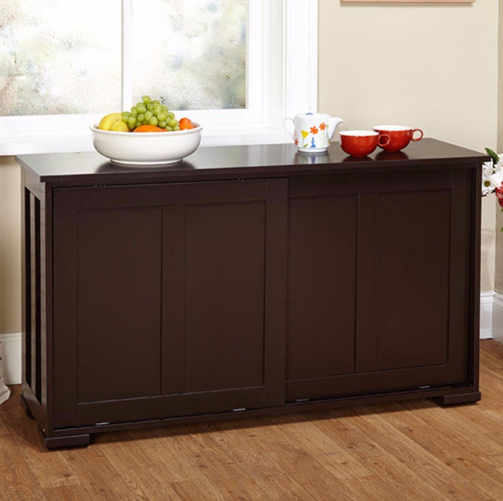 Kitchen Server Espresso Storage Cabinet Wooden Top ...