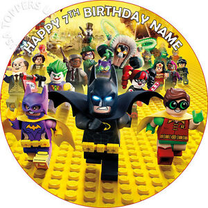 EDIBLE Lego Batman Movie Birthday Cake Topper Wafer Paper round