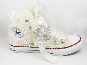 Women-039-s-Ladies-Ivory-Pearl-Bridal-Hand-Customised-High-Top-Converse-Size-3-8