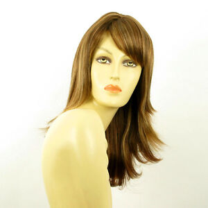 Perruque-femme-mi-longue-Chatain-Cuivre-Meche-Blond-Clair-LILI-ROSE-6BT27B
