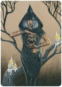 Gothic-Fantasy-Art-ACEO-PRINT-Druid-Woman-Skull-Dark-Candles-Yellow-Black-Occult