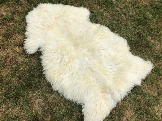 A STAR WHITE Real Sheepskin Rug 2X3 Single Pelt Sheep Skin Fur FREE SHIPPING