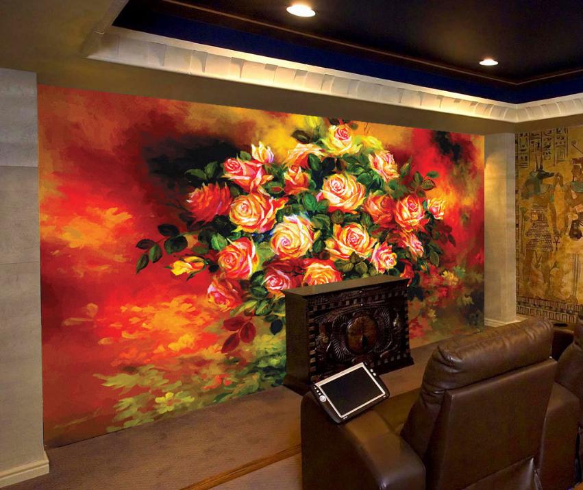 3D Rosen Vase 7533 Tapete Wandgemälde Tapete Tapeten Bild Familie DE Summer
