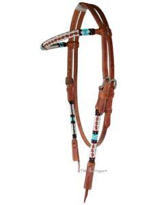 Western-Imports-Westerntrense-Beaded-Trense-Kopfstueck-mit-Perlen-Vollblut-braun