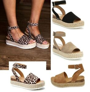 1022ffcac00 Details about Women's Soda Espadrille Low Platform Sandals topic-s