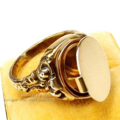 Art Déco Geheimfach Siegel Ring Medaillon Gold Auf Silber Herren 2. Wahl Festsetzung Der Preise Nach ProduktqualitäT