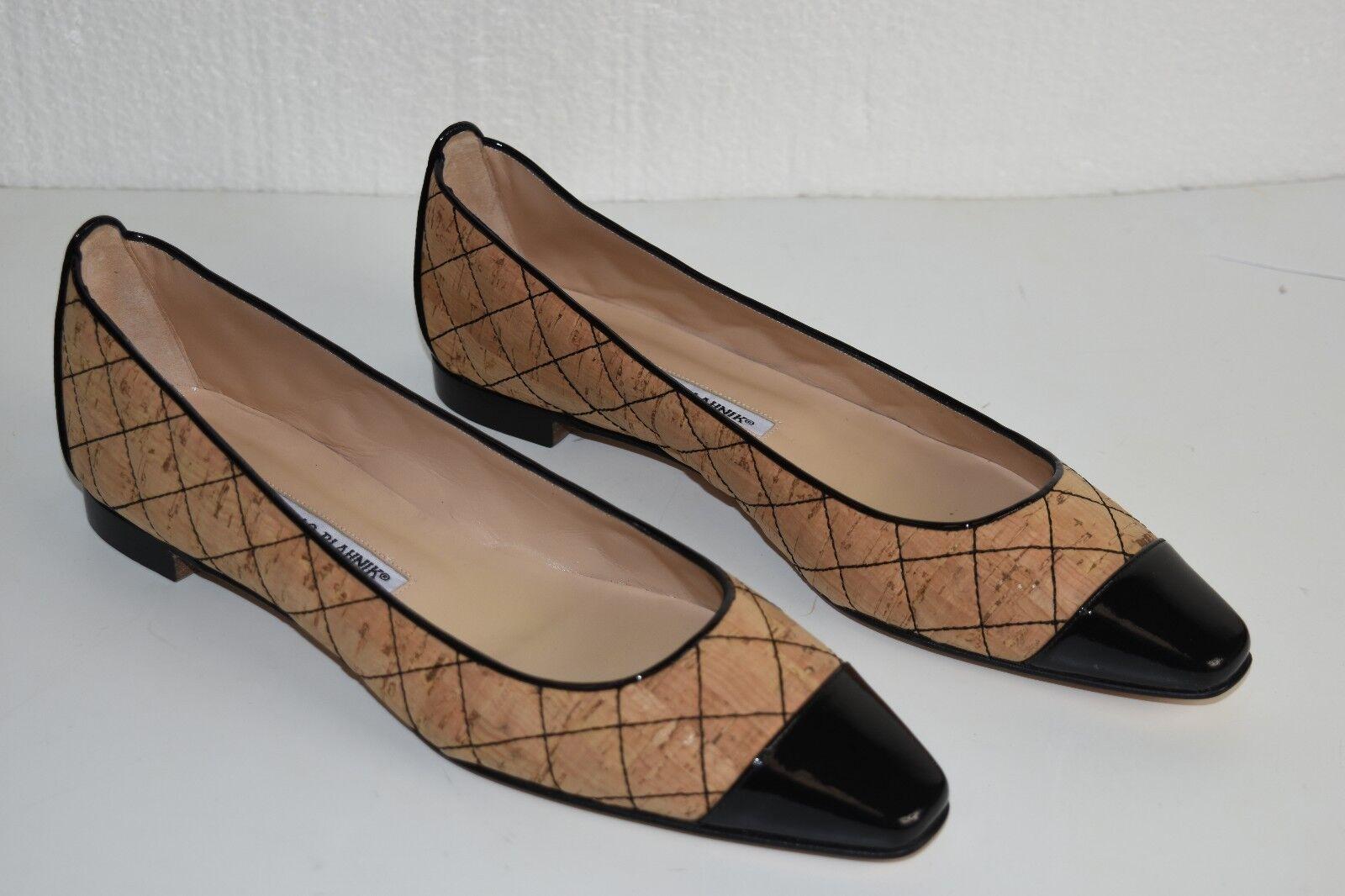 Nuovo maniolo blahnik giunglaca trapuntato sughero tappo  nero piedi piatte scarpe  classico senza tempo