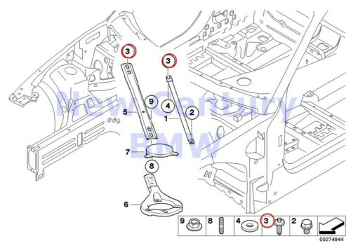BMW Genuine Reinforcement Body Strut Brace Asa-Bolt With Circlip M12X1.5X39 E82