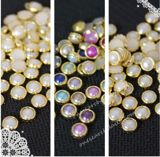 200 Pcs 3D Nail Art Alloy Decor Bling Rhinestone Pearl Charm Glitter Tips DIY 4m