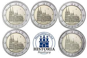 Deutschland-5-x-2-Euro-Koelner-Dom-2011-bankfrisch-5-Muenzen-Set-Mzz-A-D-F-G-J