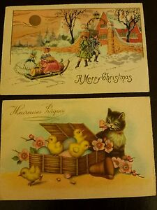 Vintage Early 1900's Greeting Postcards Both Printed in France Lot of 2