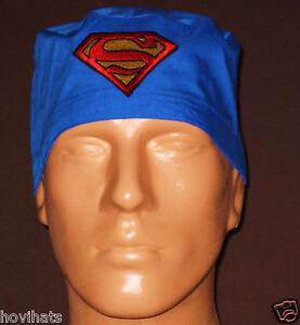 SUPERMAN-EMBLEM-ROYAL-BLUE-SCRUB-HAT-FREE-CUSTOM-SIZING-ON-REQUEST