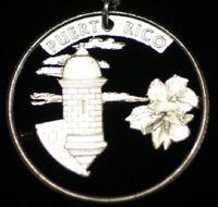 Puerto Rico Quarter Cut Coin Necklace Charm Pendant
