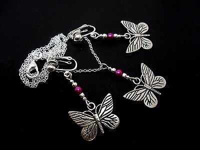 """NEW. A LOVELY TIBETAN SILVER PINK JADE BEAD BUTTERFLY  NECKLACE ON 18/"""" CHAIN"""