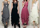 Women Sheer Lace Party Casual Prom Evening Cocktail Long Vintage Dress