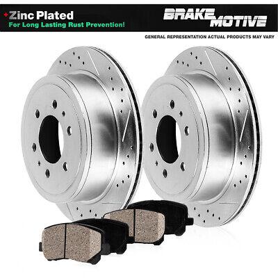 Rear Drill /& Slot Brake Rotors And Ceramic Pads For 02-09 Trailblazer Envoy