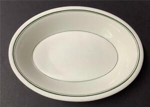 Vintage Carr China 3 Green Stripe Oval Serving/Vegetable Bowl Restaurant Ware B
