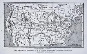 1868 Tour du Monde Map United States Transcontinental ...