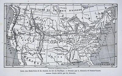 1868 Tour du Monde Map United States Transcontinental Railroad NY San  Francisco | eBay