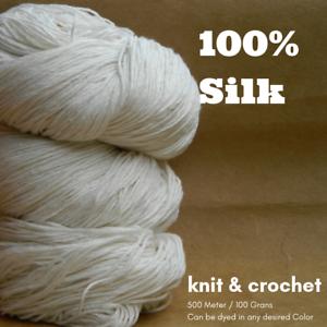 1-Skein-500-Meters-100-Grams-2-60-Spun-Silk-Yarn-x-6-Ply-Knit-Weave