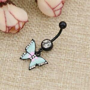 Details About Newly Butterfly Crystal Dangle Button Barbell Bar Belly Navel Ring Body Piercing