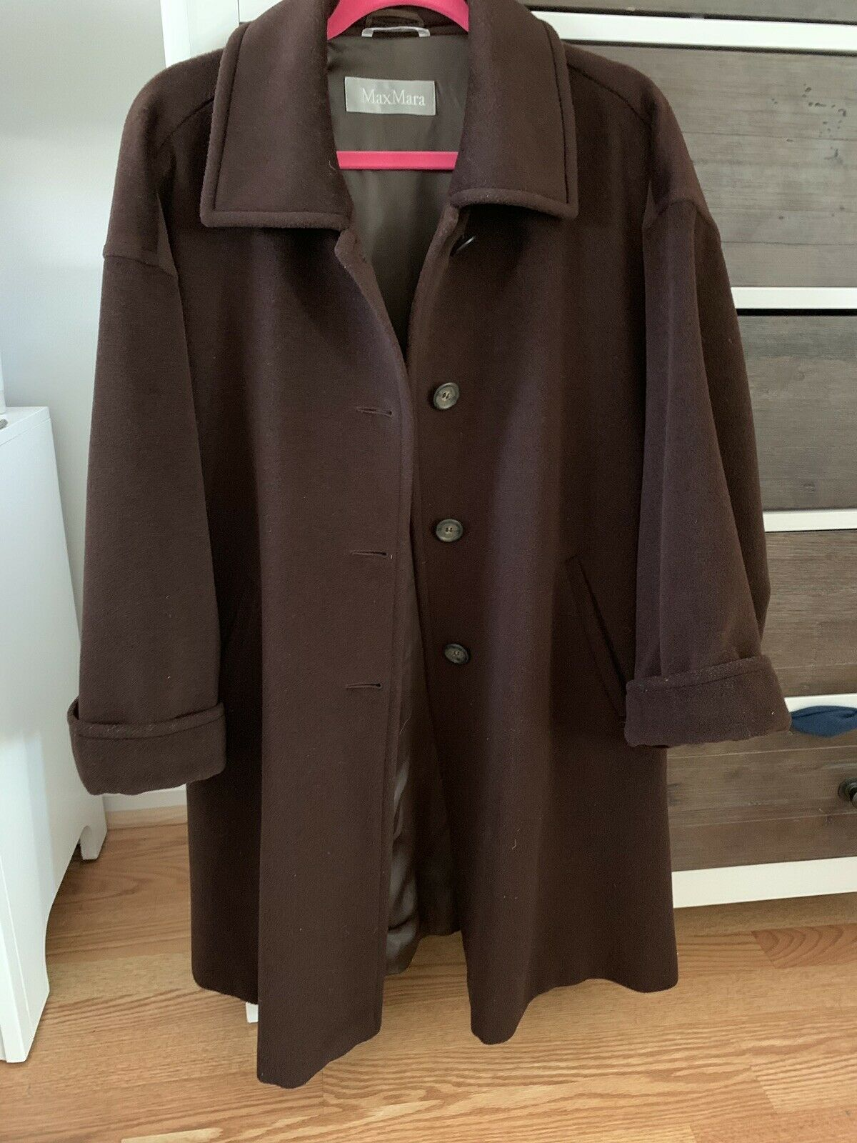 100% Authentic Max Mara Chocolate Brown Wool Coat Women's Size 6 in EC Swing