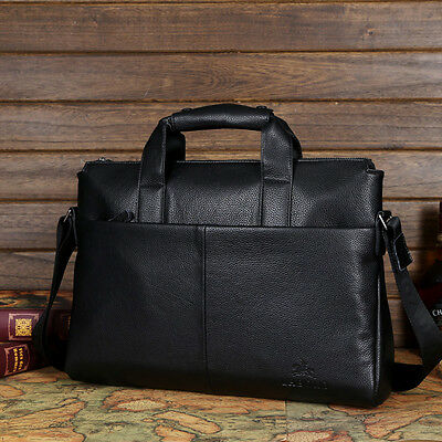 Genuine Leather Mens Handbag Business Briefcase Laptop Work Shoulder Bag Black