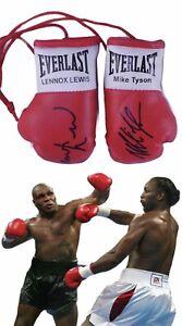 Autographed Mini Boxing Gloves Mike Tyson V Lennox Lewis