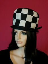 Vintage hat black white checkered Oleg Cassini 1960