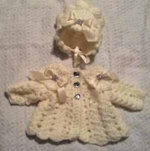 With Fluff Romany Hand Crochet Bonnet And Cardigan Babies newborn