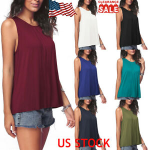 Women-Ladies-Sleeveless-O-Neck-Tops-Summer-Casual-Vest-Solid-Loose-Shirt-Blouse