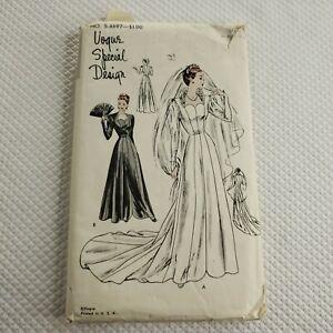Vogue-Special-Design-Pattern-S-4697-Wedding-Dress-1950s-Vintage-Uncut-Size-14