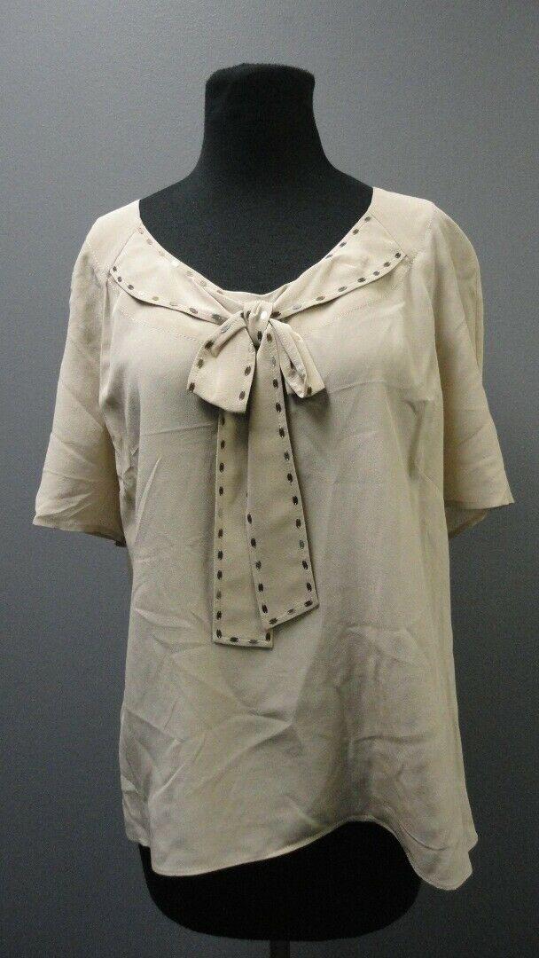ST. JOHN COUTURE Soft Nutmeg Scoop Neck Short Sleeve Blouse NWT Sz 12 GG3821