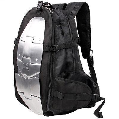 Black Motorcycle Aluminum Armor Riding Street Dual-Sport Bike Backpack Gear Bag