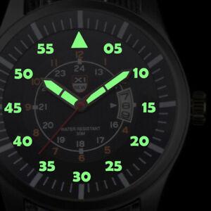 Militare-Uomo-Orologio-In-Acciaio-Inox-Luminoso-Quadrante-Data-Sport