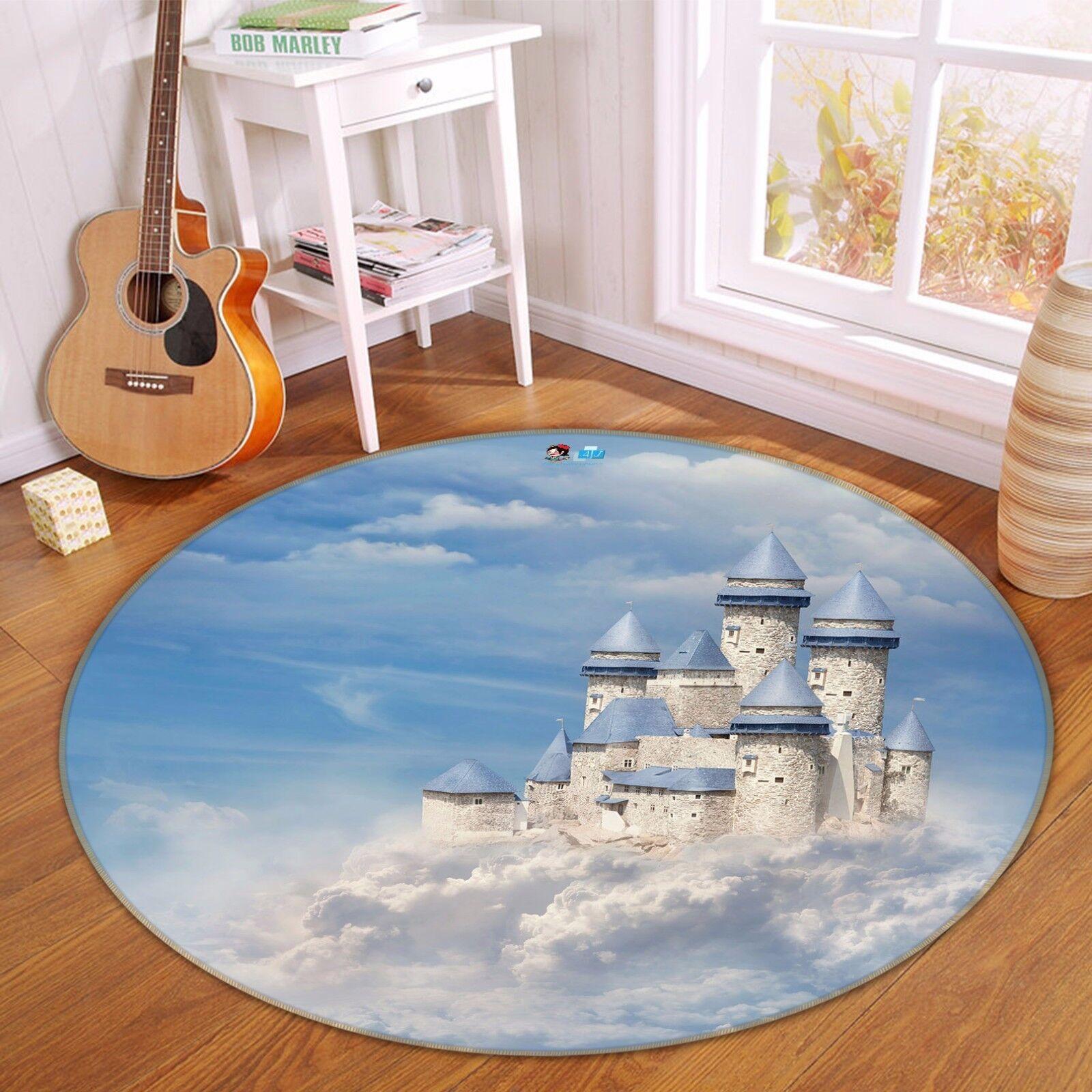 3D Clouds Castle 4 Non Slip Rug Mat Room Mat Round Quality Elegant Photo Carpet