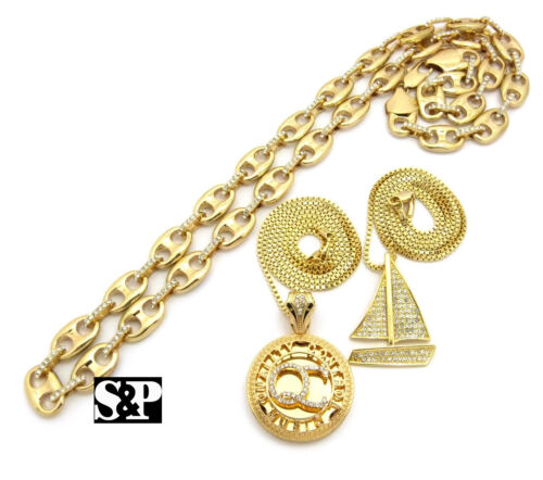 Hip Hop Iced out Sail boat QC Pendant w// Box Chain /& Guci Chain 3 Necklace Set