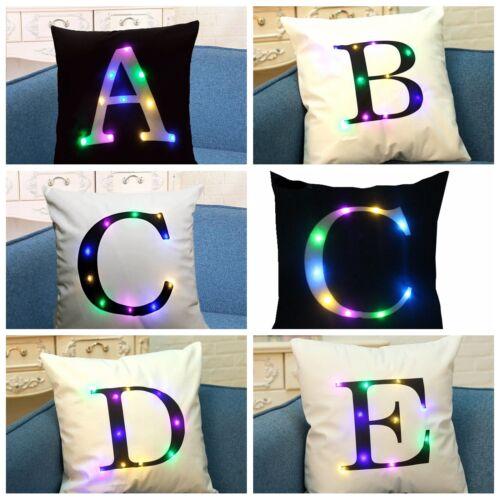 LED Light Alphabet Letter Square Throw Pillow Case Sofa Cushion Cover Home Decor