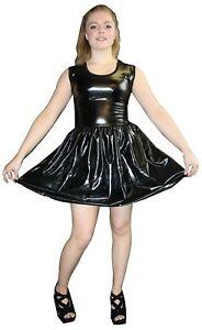 METALLIC-SHINY-PVC-BLACK-GREASE-WETLOOK-ROCKABILLY-SWING-SLEEVELESS-DRESS-RAVE