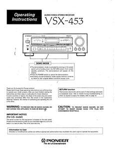 pioneer vsx 453 receiver owners manual ebay rh ebay co uk VSX Workout Erin Heatherton VSX