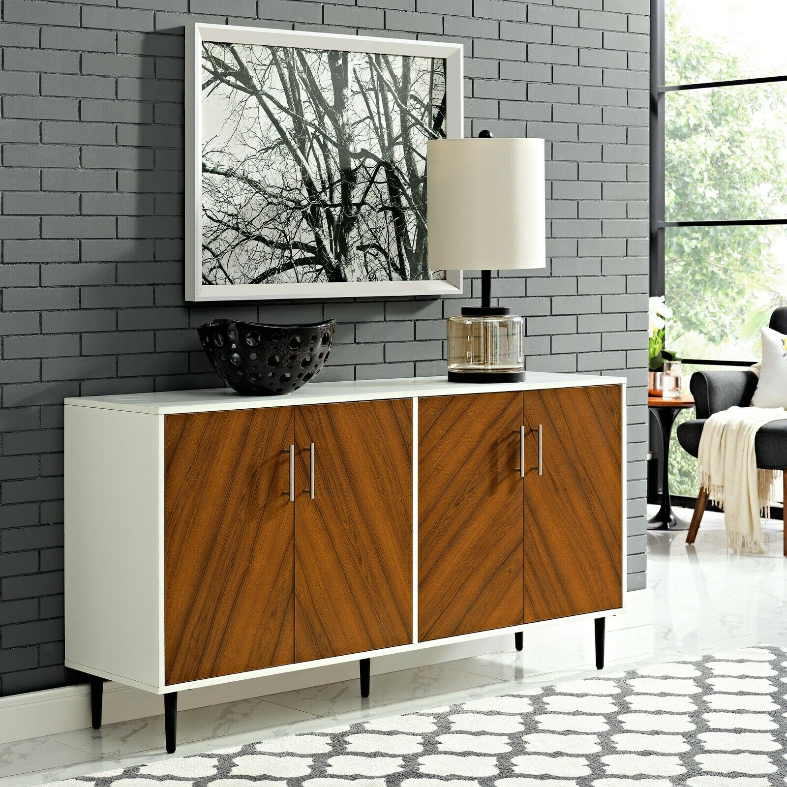 Picture of: Mid Century Modern Buffet Credenza Sideboard Side Table Console Teak Color 4door For Sale Online