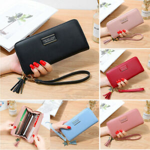Women-Lady-Clutch-Leather-Wallet-Long-Card-Holder-Zipper-Phone-Bag-Purse-Handbag