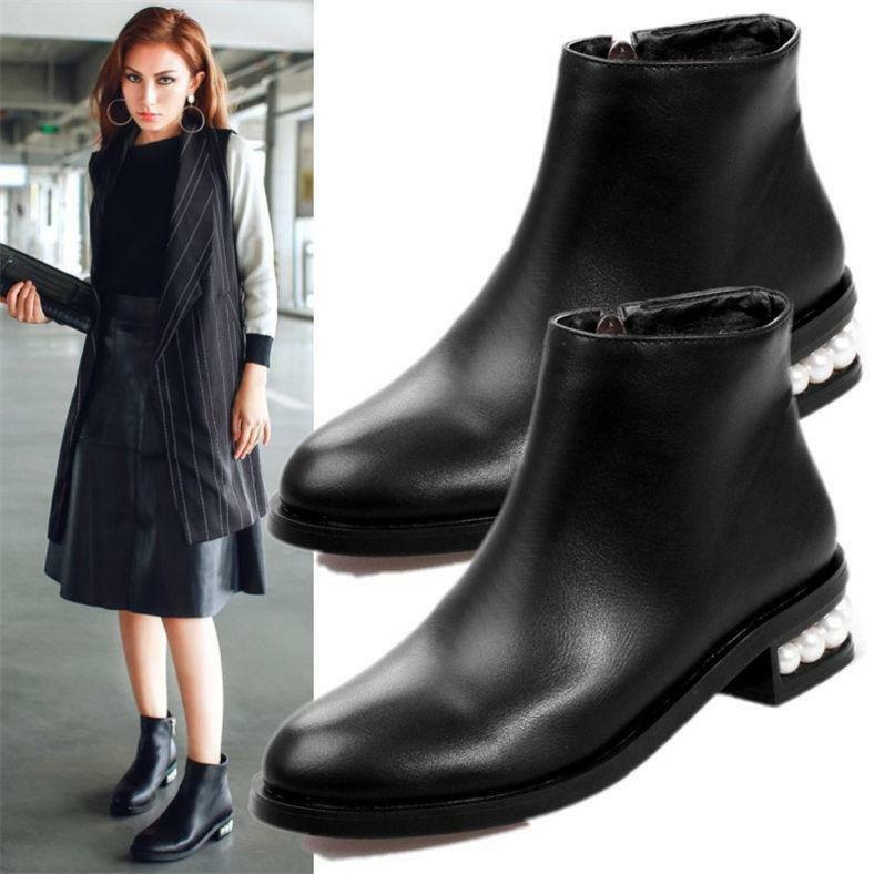 Womens Black Round Toe Ankle Boots Pearl Heel Zip Oxfords Vogue Boots Flats @BT0