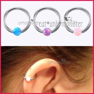 Opal-Captive-Ball-Bead-Hoop-Cartilage-Septum-Ear-Earrings-Nose-Ring-Piercing-NEW