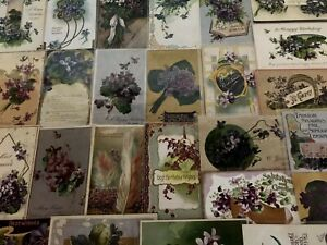 Lot-of-25-Pretty-Purple-Violets-Flowers-Antique-Floral-Greetings-Postcards-a627