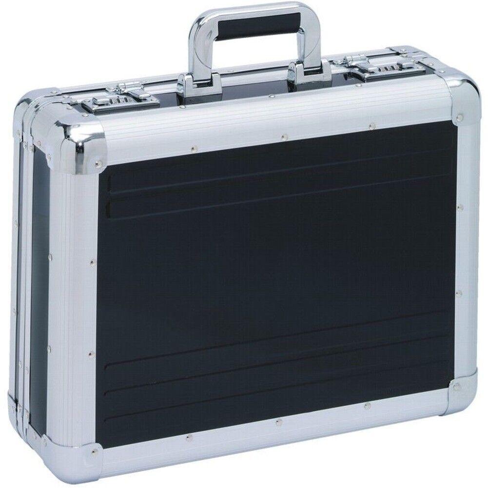 XL AKTENKOFFER Aluminium schwarz silber  Aluaktenkoffer  Attachekoffer  NEU