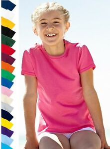 Fruit-of-the-Loom-Plain-Cotton-Kids-Childs-Girls-Tee-T-Shirt-Feminin-Fit-Tshirt